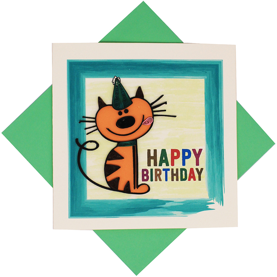 Quilled Cat Birthday Card