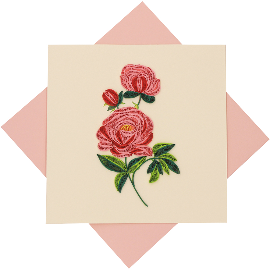 Quilled Pink Rose Card