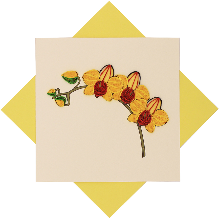 Quilled Yellow Orchid Card