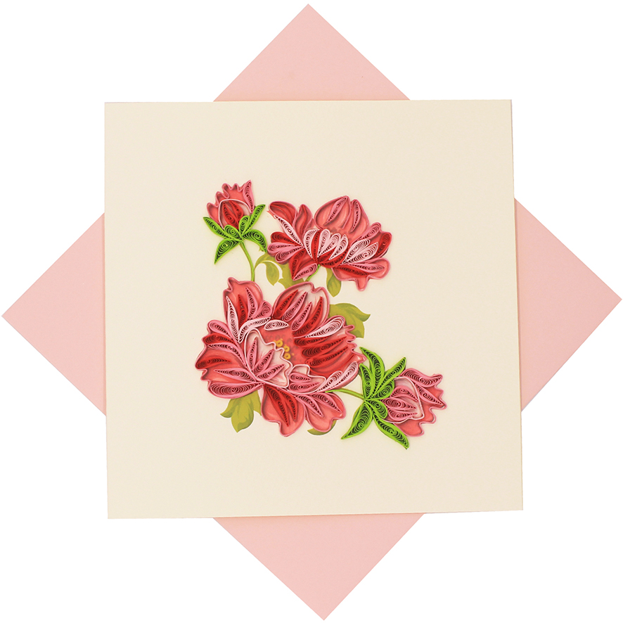 Quilled Pink Peonies Card